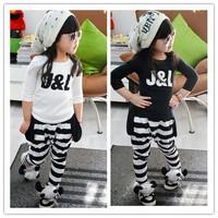 Kids girls clothing sets children's suit shirt+pants 2pcs autumn models girls sweater suit new Letter J&L sports Suit Clothing