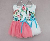 2014 new arrival promotion bow yes regular summer children's clothing baby girl dress printed flower kids party wear jk-0323