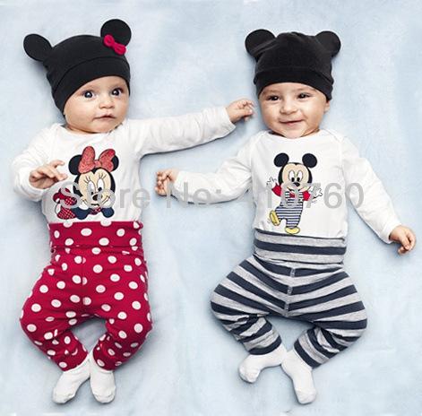 2014 New cotton children Mickey Minnie baby boys girls 3 pcs clothing set Long sleeved baby Rompers hat pants newborn bodysuits(China (Mainland))