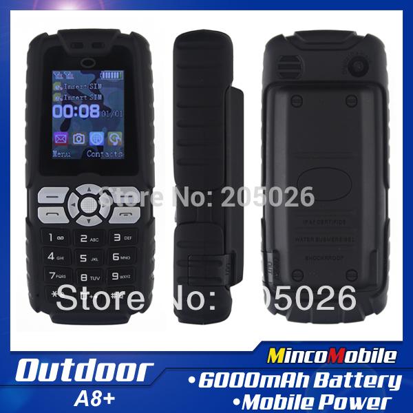 A8+ Dual SIM Card Outdoor Phone Russian Keyboard, 6000mAh Backup Battery, Mobile Power, Dust Proof, Anti Shock, Long Standby(China (Mainland))