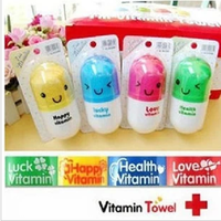E009 vitamin towel pill style small color carry facecloth