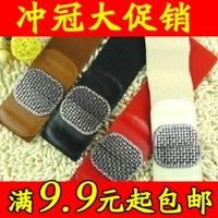 Spilliness all-match diamond-studded leather elastic waist belt women's cummerbund