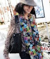 H014 autumn and winter multi-element smiley scarf silk scarf chiffon cape female