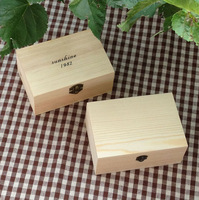 Zakka Solid colors small wooden box with lid Groceries storage box