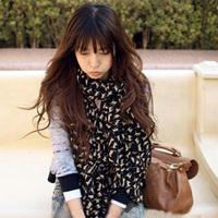 H017 autumn and winter cape small cat scarf long design velvet chiffon silk scarf female