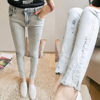 Russia Brazil 9908 pants light color pencil jeans skinny pants distrressed ankle length trousers slim Wholesale Promotion