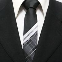 New Trend Mens Unique Skinny Grid Neck Tie For Man Black With White Classic Picnic Check Necktie Gravatas 5CM F5-C-7