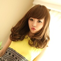Free Shipping$20, 48cm 18inches 210g Korean Exported Live Models Curly Wavy Pear Head Wigs Hairpieces COS 1403-2205