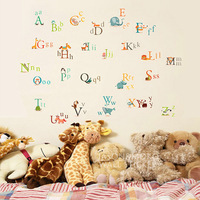 Children learn English 26 English letters removable wall stickers children's wall decals and nursery  95cmX135cm FreeShipping