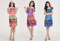 2014 Spring Bohemia Straight Loose Plus Size Ice Silk Dresses Print Beach Dress Butterfly Blue Orange Purple Free Shipping