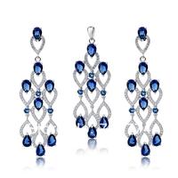TZ0085 Promotion Luxury Zircon Jewelry Earrings Pendant Set Fashion 925 sterling silver Jewelry Set For Women FREE SHIPPING