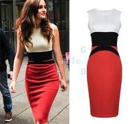 2014 Womens Celebrity Midi Bodycon Ladies Red Pencil Evening Slimming Panel Tea Dress Plus size S-XXL 19376