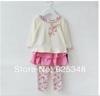 Retail-2014 New Brand Baby Clothing Set for Girls Baby T-shirt+ pants conjunto de roupa 2pcs/set  Kids Clothes roupas de bebe