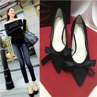 New Fashion European Style Bowtie Pointed Toe Wedding  Party Shoes High-heeled Shoes Wholesale 1Pair