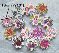 Wooden Buttons WB0104 Buttons Mixed 60pcs Flower Shaped  Wood Button