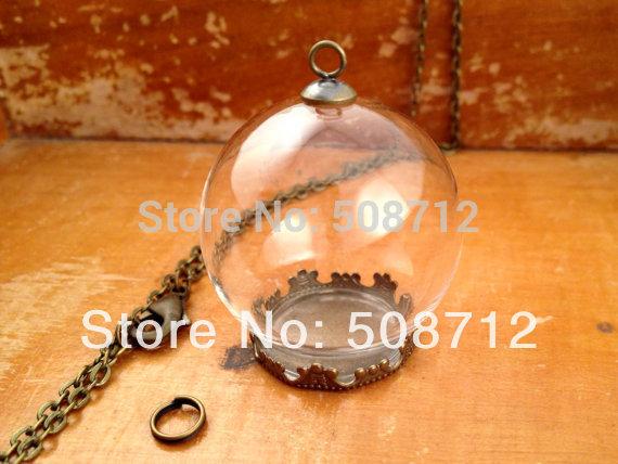 20sets Clear Glass Globe Necklace Kit Bottle Pendant DIY Antique Bronze Top Terrarium Bottle Charm Apothecary Jewelry Supplies(China (Mainland))
