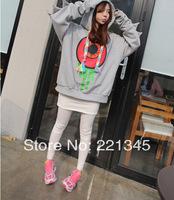 2014 autumn long design women's plus size with a hood loose big eyes zipper sweatshirt outerwear women's