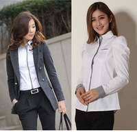 2014 New Casual Women Lady Chiffon Cardigan Long Sleeve Blouses Shirts, White, S, M, L, XL