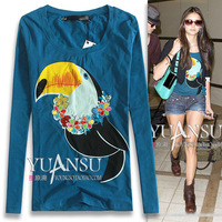 Fun animal graphic patterns fashion slim long-sleeve T-shirt basic shirt
