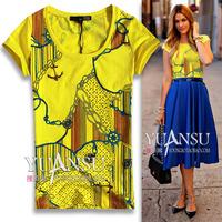 Cc print grosgrain full-body print fashion rhinestones slim short-sleeve T-shirt yellow black