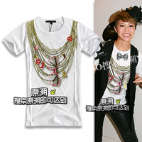 Fashion print necklace sunglasses slim o-neck short-sleeve T-shirt fashion cattle