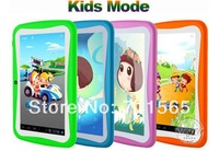 Free Shipping 7 inch Kid Tablet PC With Children Educational Apps Android 4.1 Capacitive Screen Dual Camera WiFi Soft Back Cover