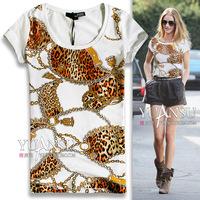 Cc print grosgrain chains messenger bag czech rhinestone fashion rhinestones slim short-sleeve T-shirt