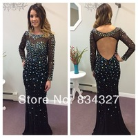 Вечернее платье Vestido De Fiesta Sexy High Neck One Shoulder Crystal Beading Open Back Full Sleeves Long Party Dress Evening Dress