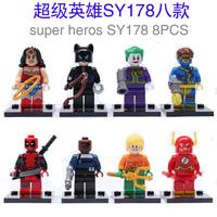 Free Shipping SY178*8pcs/lot*Nick Fury*Batman*Wonder woman*The Flash*Deadpool*Educational Brick minifigures kids toys gift