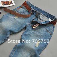 New Hot 2014 spring/autumn/winter korean version men designer jeans mens fashion straight jeans large size leisure jeans