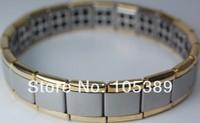 Wholesale 3pcs gole and silver 80 stone Nano Energy Magnetic ,Titanium, Germanium Bracelet hot selling