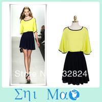 Fashion spring 2014 casual dress summer dress Shiffon women party dresses OL Lady Free Shipping