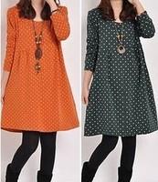 Dot one-piece dress loose plus size patchwork polka dot long-sleeve 9149