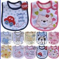 Hot Sale 10pcs Cotton Baby Bib Infant Saliva Towels Baby Waterproof Bib Cartoon Baby Wear With Different Model free shipping