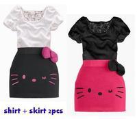 Retail 90-140cm New Arrival Child Clothing Gilrs Sets Suit Bowknot Lace Decor Letter cat Print T-Shirt ,D75