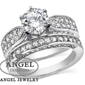 9K Set 2 Carat NOCM Best Lab Grown Diamond Top Workmanship diamond wedding ring set,bridal set, engagement ring set for women(China (Mainland))