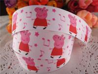 2014 new arrival 1'' 25mm peppa pig printed grosgrain ribbon cartoon ribbons cloth tape 10 yards WQ14032430