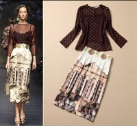 2014 European Spring Fashion Runway Top Grade New Arrive Polka Dot tops + Building printing Knee-Length Skirts Women Suit