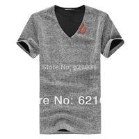 New 2014 Summer man Fashion t shirt High Quality Slim Fit  t-shirt men Size ( M-4XL ) camisas tops & tees men Free Shipping