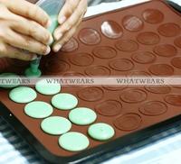 Free Shipping Silicone Macaron Macaroon Dessert Baking Pastry Cookie Sheet DIY Makes 30 [4003-108]