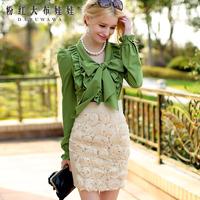 Lovable Secret - Bust skirt short skirt 2014 women's beige chiffon disk flowers slim hip skirt  free shipping