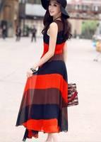 Free  Shipping Summer long design bohemia dress patchwork full dress chiffon one-piece dress