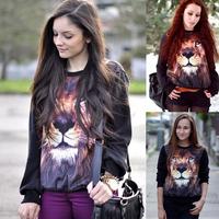 Fashion hot-selling class service women's 3d lion head animal pattern trend personality sweatshirt loose