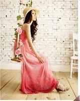 Free  Shipping Bohemia expansion bottom full dress spaghetti strap bra one-piece dress chiffon skirt