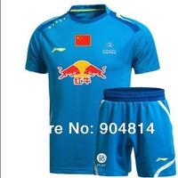 badminton li-ning 2014  Free Shipping LI-Ning Badminton shirt  Men's Shirt  badminton clothes tennis Shirt+shorts red/blue