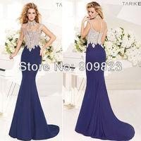 2014 High Collar Nice Beaded Top Mermaid Elegant Evening Gowns Dresses New 1470
