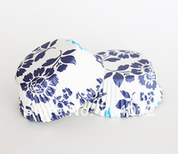 wholesale-free shipping 100 pcs/lot  Blue and White GREASEPROOF PAPER CASE CUPCAKE LINERS CASES