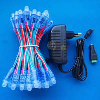 50pcs 12mm IP65 Waterproof WS2801 LED Pixels with DC 5V 2A Adapter and DC Female Adaptor
