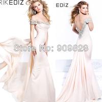 2014 Tarik Ediz Designer Short Sleeves Silvery Beaded Shiny Open Back Mermaid Elegant Backless Evening Dresses Summer New 92329