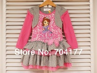 2014 New Arrival Branded Girl Clothing Sofia Princess dress long sleeve cake dress sofia the first dress  2-7Y
